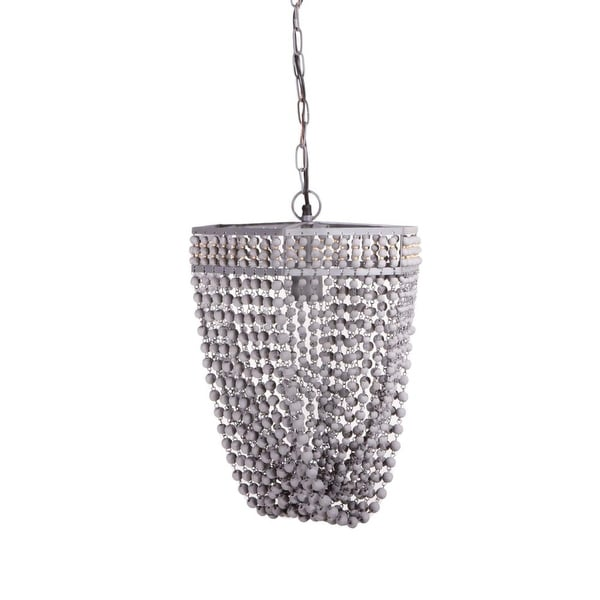 "16"" Grey Beaded Basket Inspired Ceiling Chandelier with Hexagonal Frame"
