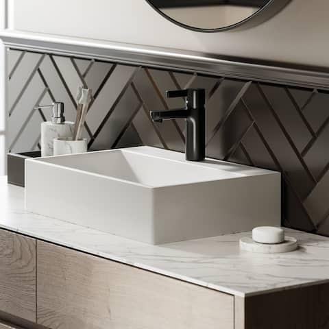 "Swiss Madison SM-VS203 Claire 20"" Rectangle Ceramic Vessel Sink"