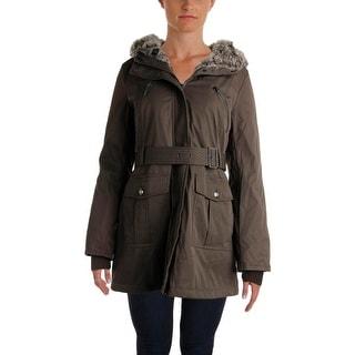 Kensie Womens Faux Fur Hooded Parka