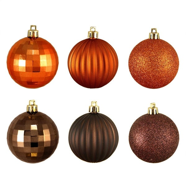"300ct Brown & Orange 3-Finish Shatterproof Christmas Ball Ornaments 2.5"" (60mm)"
