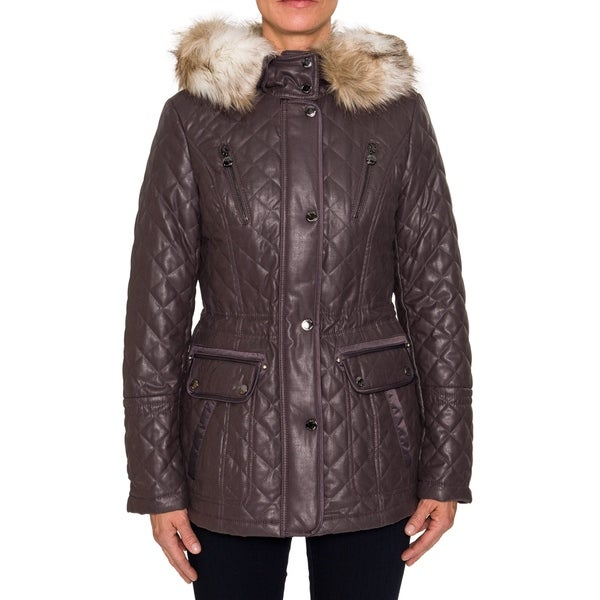 Shop Laundry By Shelli Segal Quilted Jacket With Faux Fur Trim