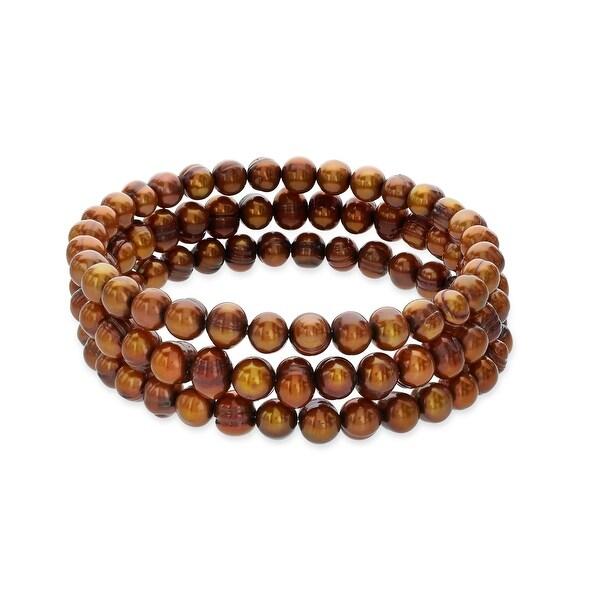Honora Set of 3 7-8mm Brown Ringed Freshwater Pearl Bracelets