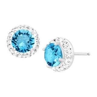 Crystaluxe March Earrings with Light Blue Swarovski elements Crystals in Sterling Silver