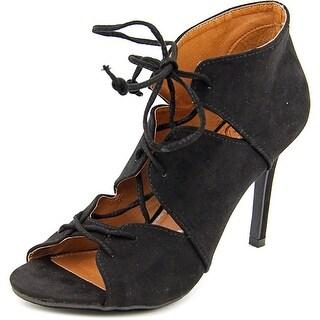 Madeline Breakaway Women Peep-Toe Canvas Black Heels