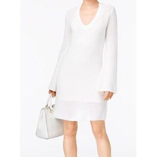 MICHAEL Michael Kors NEW White Womens Size Large L V-Neck Sweater Dress
