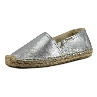 Soludos Original Espadrille Youth Round Toe Leather Silver Espadrille