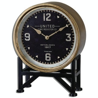 "16"" Kerala Industrial Style Table Clock with Aged Brass Frame and Black Stand"
