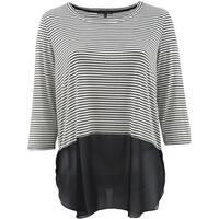 Women - Plus Size 3/4 Sleeve Striped Chiffon Bottom Top Blouse Knit Shirt Black White