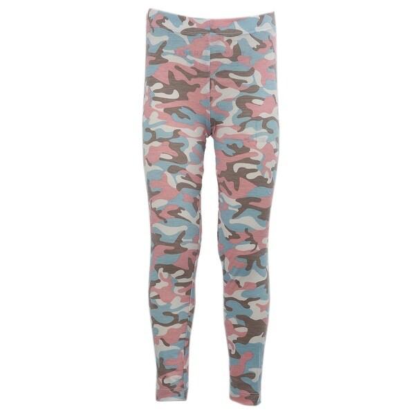 Kids Stretchy Leggings Bottom Trousers dark blue dark pink camouflage
