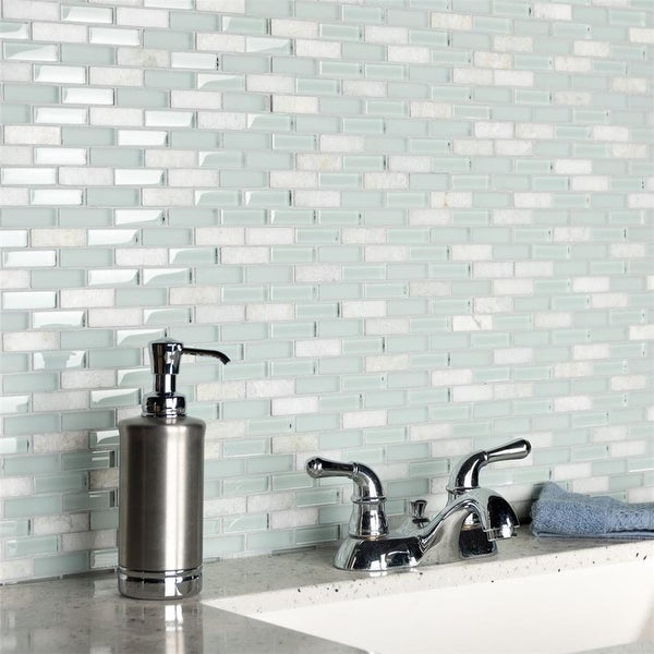 SomerTile Tessera Subway Ming 10-3/4 in. x 11-3/4 in. x 8 mm Glass and Stone Mosaic Tile. Opens flyout.