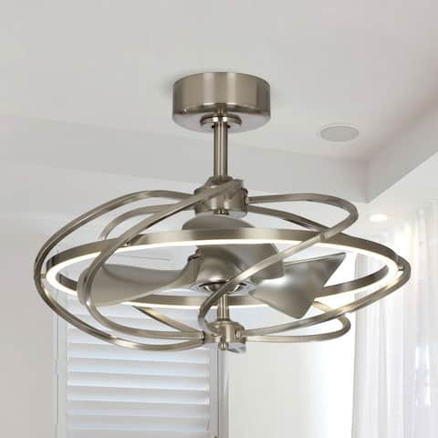 27 in. LED Indoor Satin Nickel Reversible 3-Blades LED Ceiling Fan with Remote - Overall Size: 27 inches W x 13 inches H