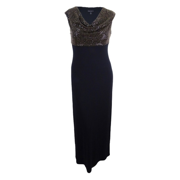 Connected Women's Metallic Cowl-Neck Gown - Black/Gold
