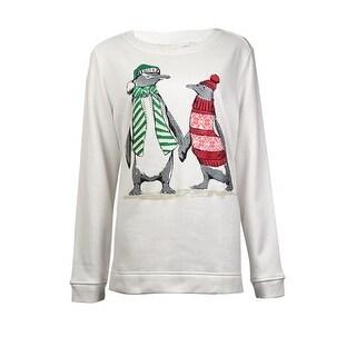 Karen Scott Women's Glittered Penguins Graphic Sweater - Winter White