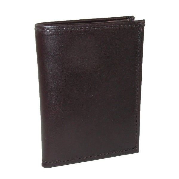 Boston Leather Men's Smooth Leather Book Style Card Case Wallet with ID