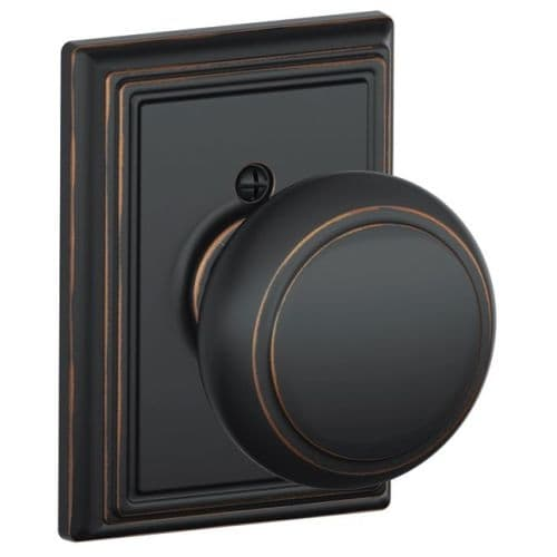 Schlage F170-AND-ADD Single Dummy Andover Door Knob with the Decorative Addison Rose