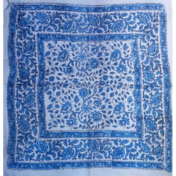 Handmade Floral Block Print Cotton Scarf 21x21 Inches & 42x42 Inches Blue Beautiful Casual Formal Wear