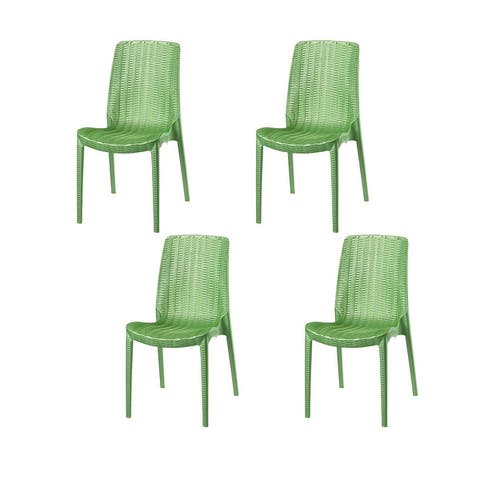 Rue Stackable Resin Rattan Patio Dining Chairs (Set of 4)
