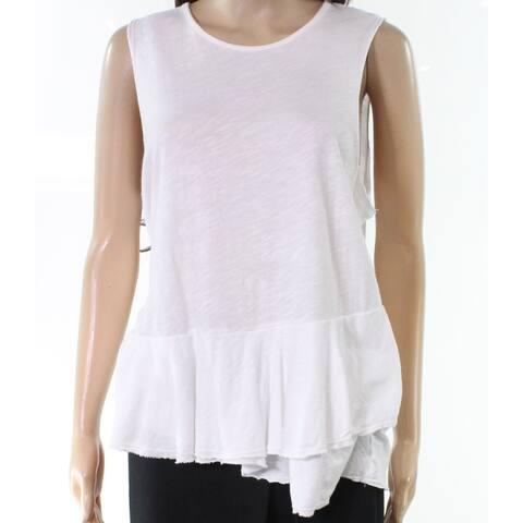 Sundry White Womens Size Small S Solid Sleeveless Peplum Tank Top