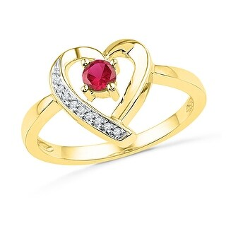 10kt Yellow Gold Womens Round Lab-Created Ruby Heart Love Fashion Ring 1/4 Cttw - Red/White