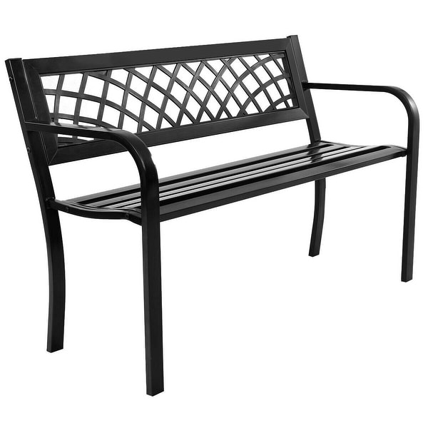 Costway Patio Park Garden Bench Porch Path Chair Outdoor Deck Steel Frame