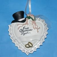 Club Pack of 12 Top Hat & Veil Wedding Christmas Ornaments for Personalization - WHITE
