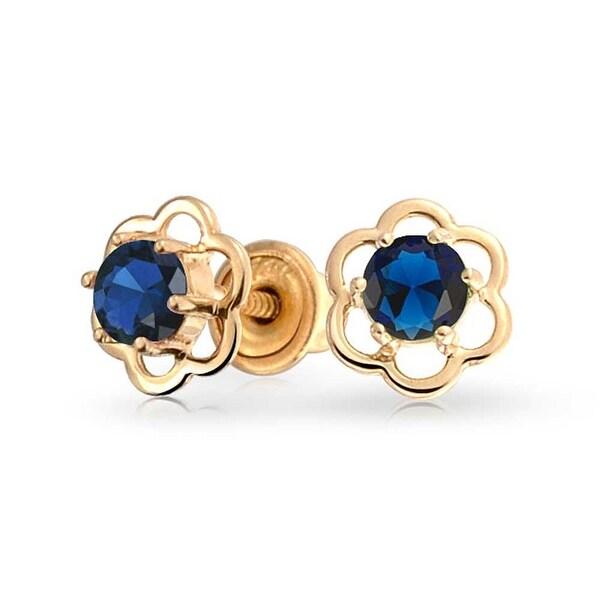da22f7937 Shop Minimalist Tiny Royal Blue CZ Open Flower Stud Earrings Teen Cubic  Zirconia Imitation Sapphire 14K Real Gold Screwback - On Sale - Free  Shipping Today ...