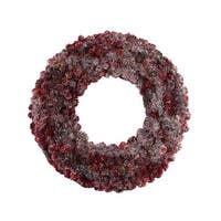 "18"" Wine Burgundy Glitter Pine Cone Artificial Christmas Wreath - Unlit"