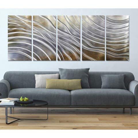 Statements2000 Gold & Silver Abstract 3D Metal Wall Art by Jon Allen - Glacial Rift
