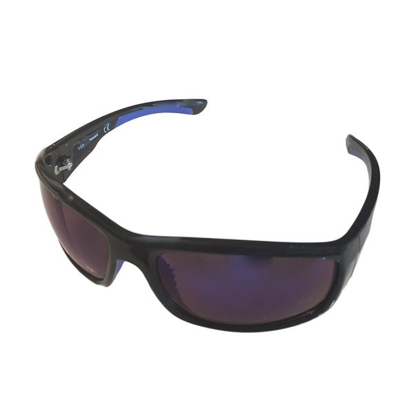 Timberland Mens Sunglass Matt Black Blue Flash Lens Plastic Wrap TB7145 1C - matt black - Medium