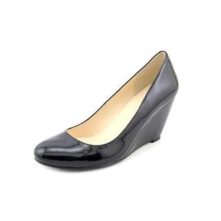 Cole Haan Lianey Women Open Toe Patent Leather Black Wedge Heel