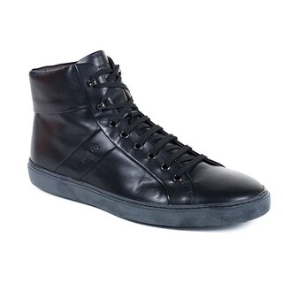 Tods Mens Black Allacciato Leather High Top Sneakers