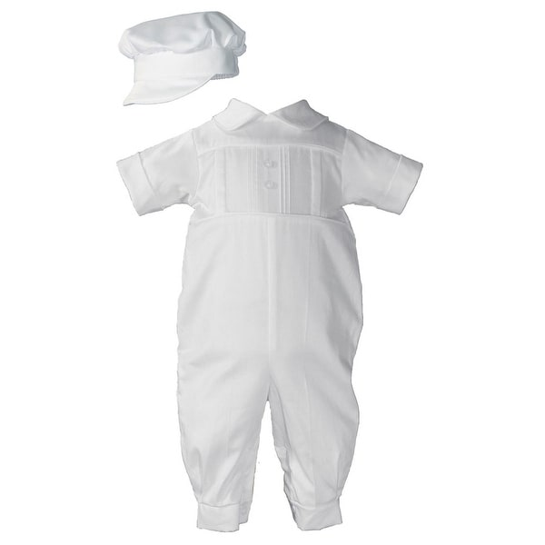 Baby Boys White Cotton Satin Short Sleeve Hat Christening Outfit Set - 0-3 months