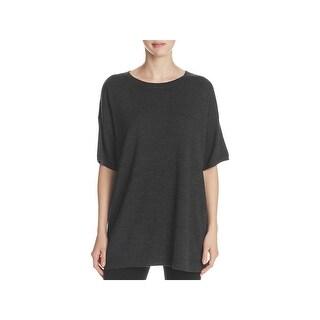 Eileen Fisher Womens Pullover Sweater Merino Wool Elbow Sleeves