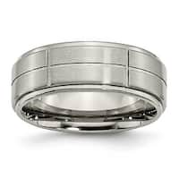 Chisel Ridged Edge Grooved Brushed and Polished Titanium Ring (8.0 mm)