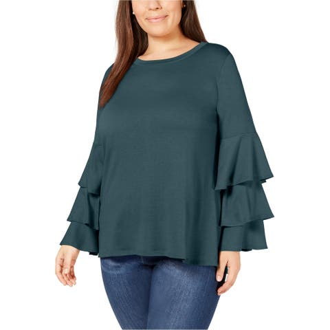 NY Collection Womens Ruffle Sleeve Pullover Blouse, blue, 1X