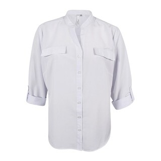 NY Collection Women's Plus Size Roll-Tab-Sleeve Button-Down Shirt (White, 1X) - White - 1x