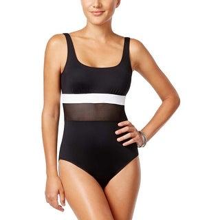 Ralph Lauren Womens Mesh Blocked Hi Neck One Piece Swimsuit 14 Black Swimwear