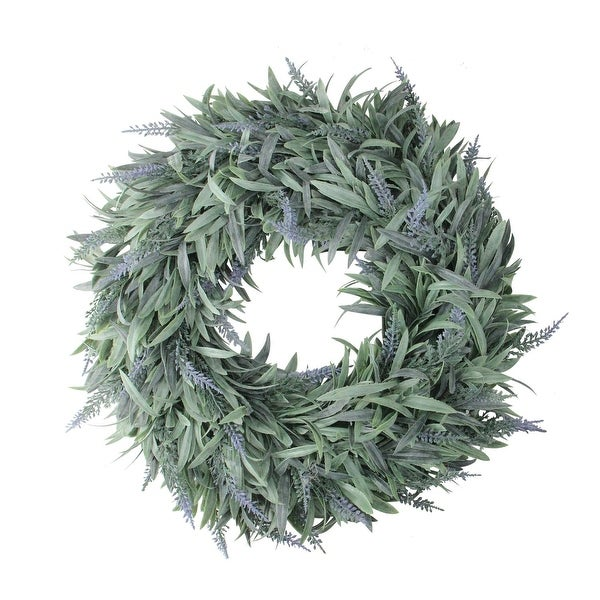 "17"" Artificial Dusty Blue Decorative Springtime Wispy Lavender Wreath - green"