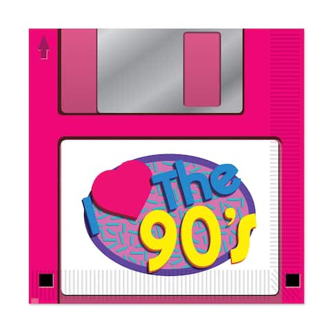 Set of 192 Pink 90s Floppy Disk Lunch Napkin  2 Ply - N/A