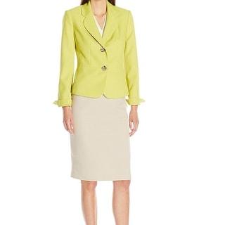 Le Suit NEW Green Beige Contrast Women's Size 18 Skirt Suit Set