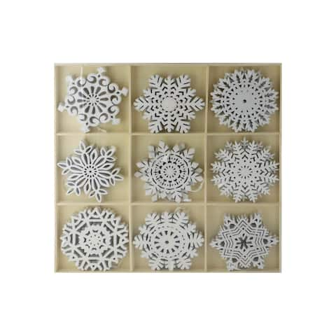 SPC Ornaments Glittered Snowflakes In Tray 9Styles