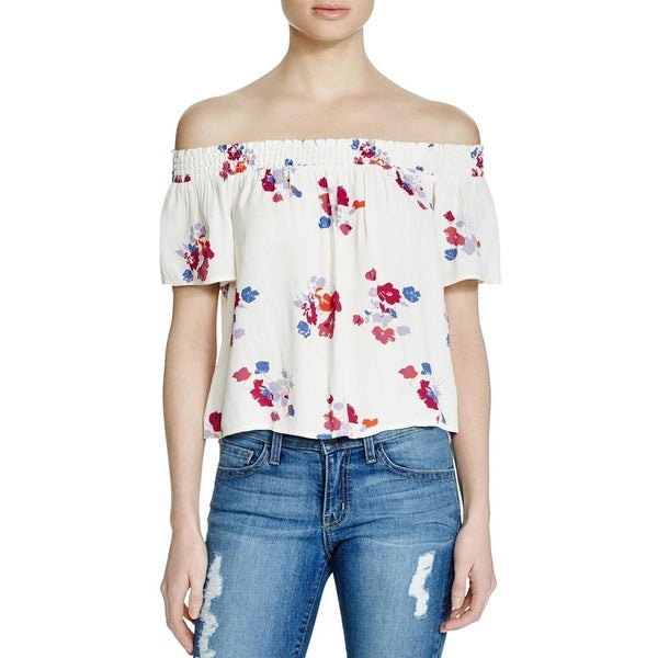 Minkpink Womens Blouse Floral Print Off Shoulder Sleeves