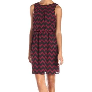 S.L. Fashions NEW Red Black Chevron Printed Women Size 16 Blouson Dress