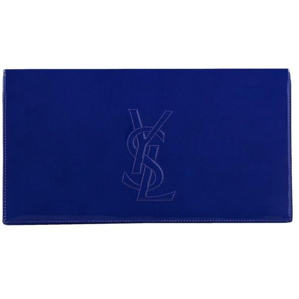 4d572ff144 Saint Laurent YSL 361120 Blue Patent Leather Large Belle de Jour Clutch Bag