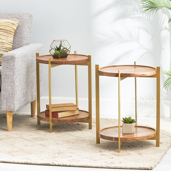 Barnsley Indoor Acacia Wood Handcrafted End Table by Christopher Knight Home. Opens flyout.