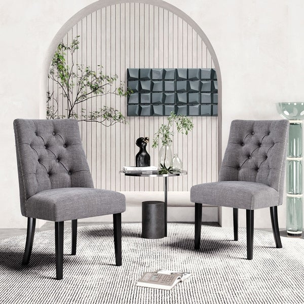 AOOLIVE 2PCS Tufted Upholstered Armless Kitchen Dining Chairs, Grey. Opens flyout.