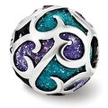 Italian Sterling Silver Reflections Purple/Blue Filigree Enameled Bead (4mm Diameter Hole) - Thumbnail 0