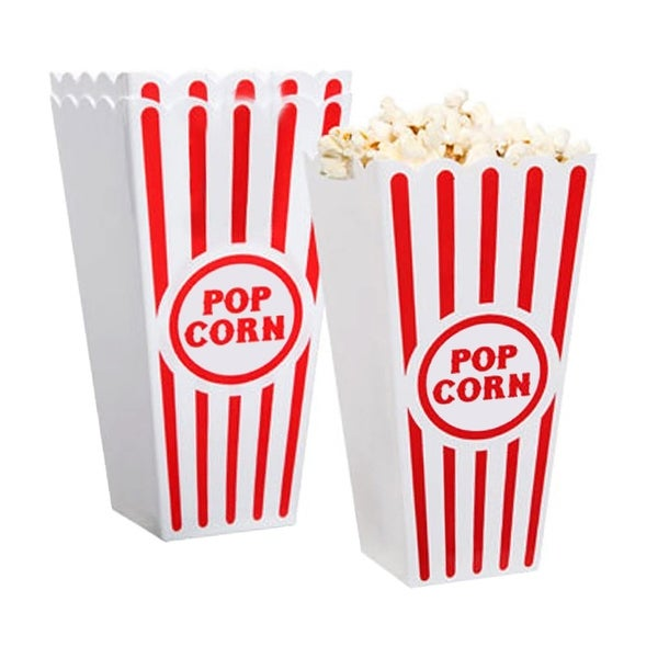 Premius 2-Pack Popcorn Container, Red-White, 7x3.5 Inches - Red/White - N/A