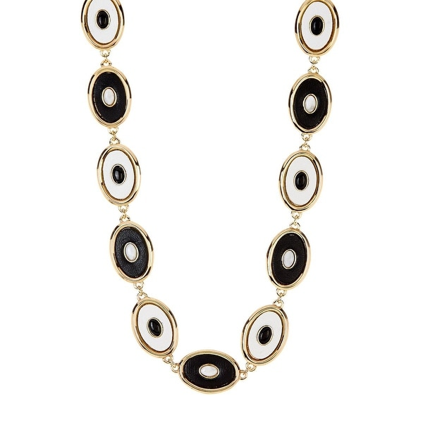 House of Harlow by Nicole Richie Womens Del Sol Necklace Leather Reversible - BLACK/WHITE
