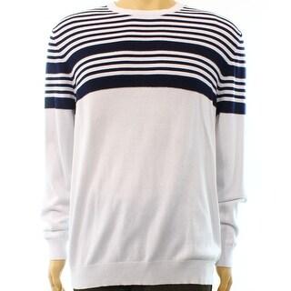 Club Room NEW White Bright Navy Mens Size XL Crewneck Striped Sweater
